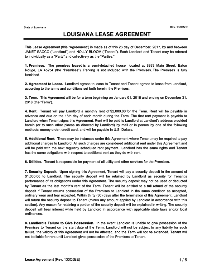 Louisiana Lease Agreement Sample