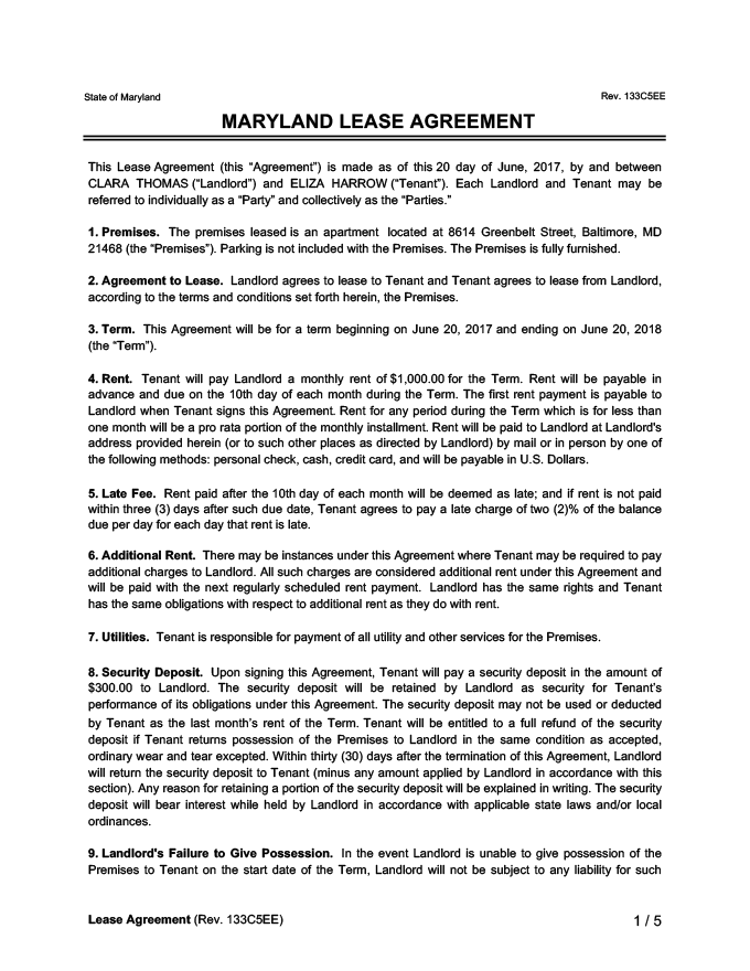 Maryland Lease Agreement Sample