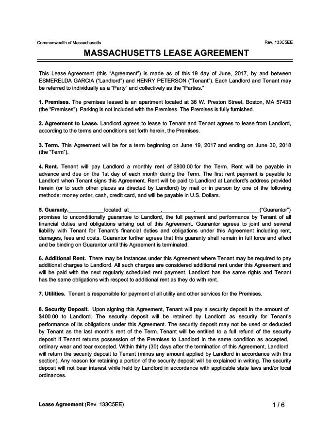 Massachusetts Lease Agreement Sample