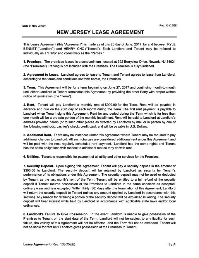 New Jersey Residential Lease Agreement Create Download