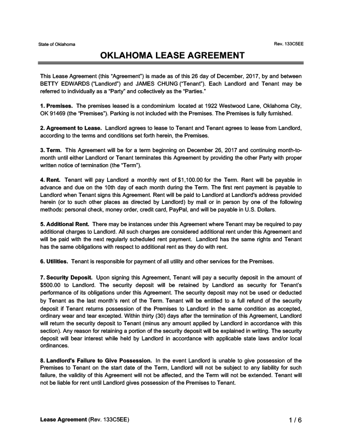 Oklahoma Lease Agreement Sample