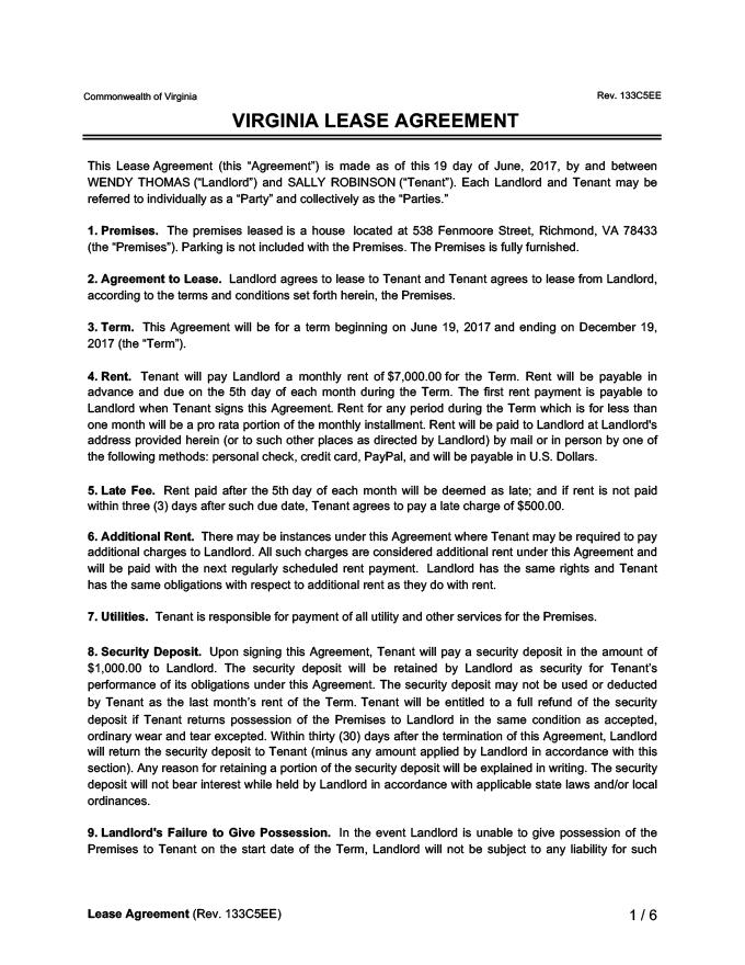 Virginia Lease Agreement Sample