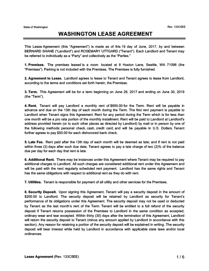 Washington Lease Agreement Sample