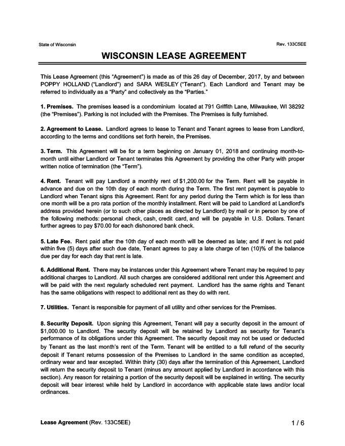 Wisconsin Lease Agreement Sample
