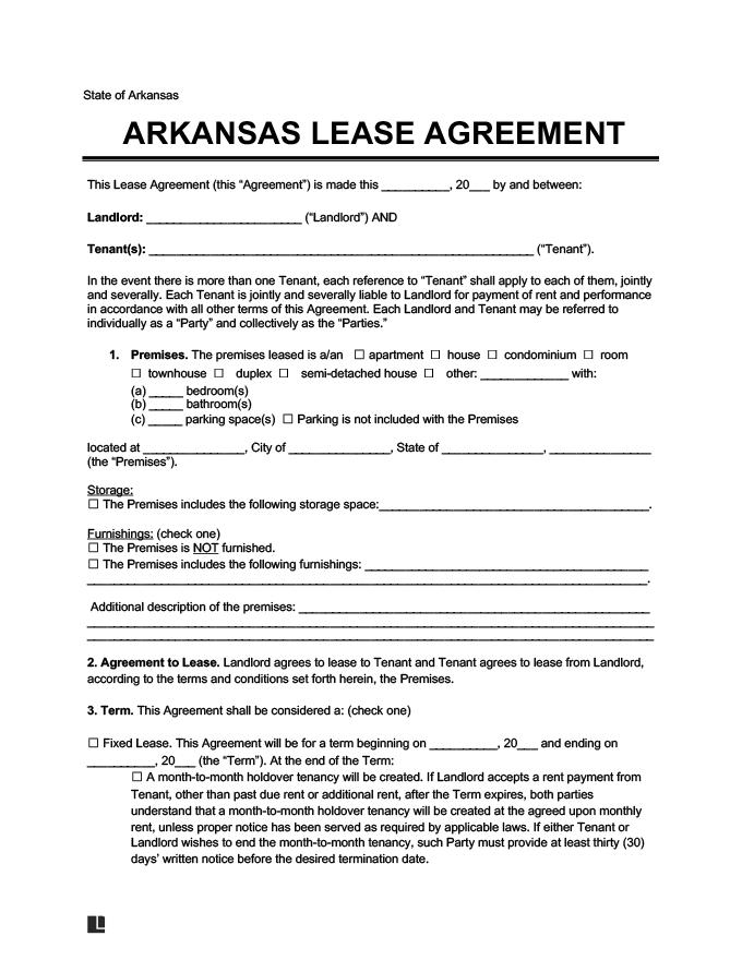 arkansas residential rental lease agreement