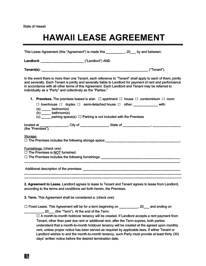 hawaii residential rental lease agreement
