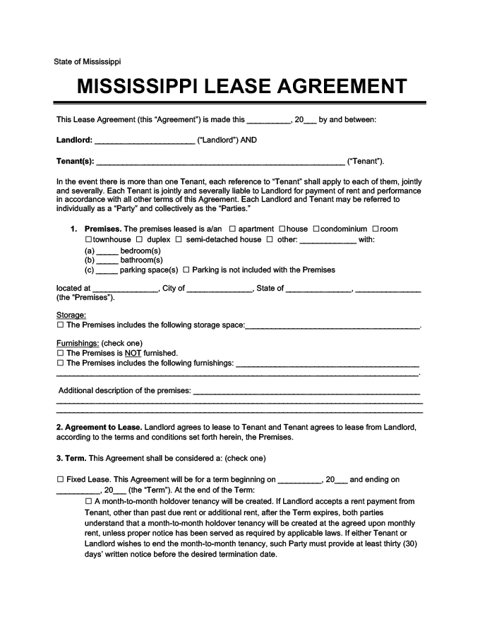 Mississippi Residential Rental Lease Agreement