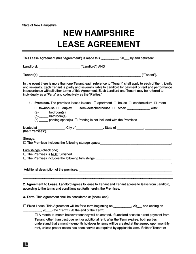New Hampshire Residential Rental Lease Agreement