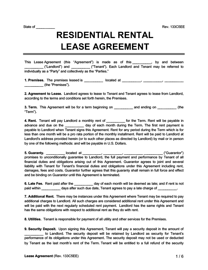 standard residential rental lease agreement