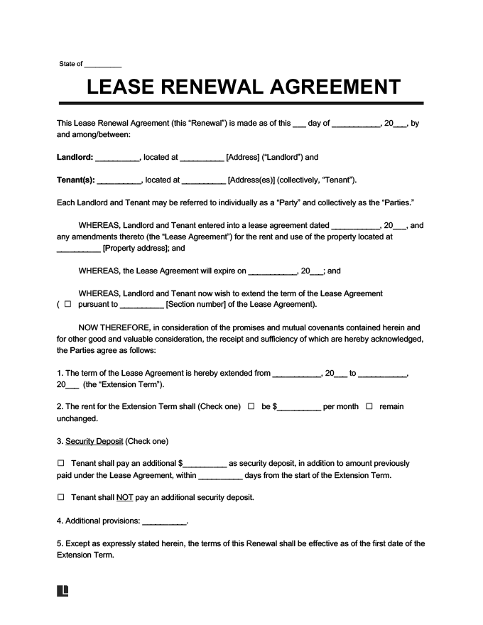 Create a Free Lease Renewal Download Print – Lease Extension Agreement