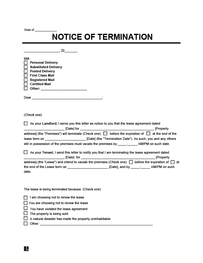 Free Lease Termination Letter How To Write Sample Notice Legal Templates