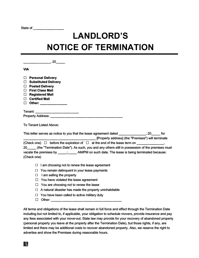 Sample Early Lease Termination Letter from legaltemplates.net
