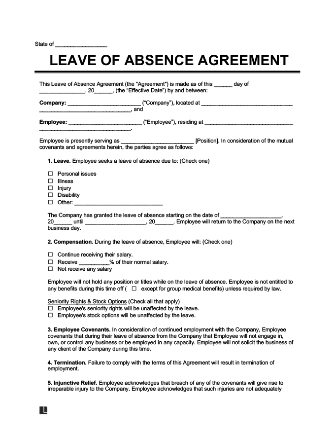Leave of Absence Agreement Template