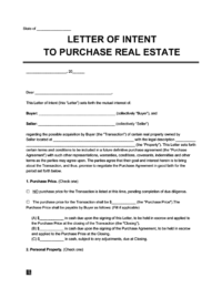 letter of intent template for real estate