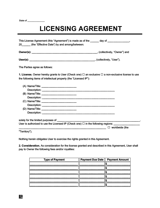 Licensing Agreement Template Create A Free License Agreement