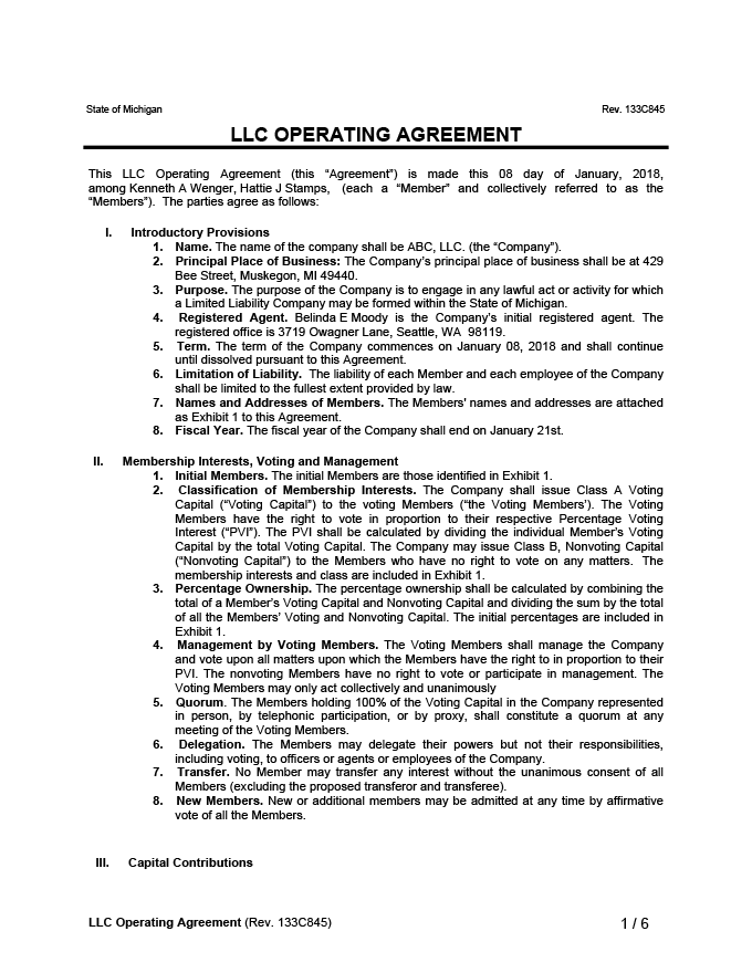 LLC Operating Agreement Sample