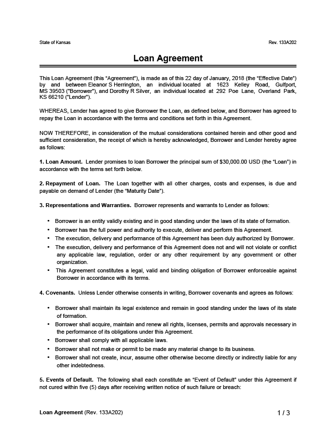 Free Loan Agreement Template Simple Personal Employee Family