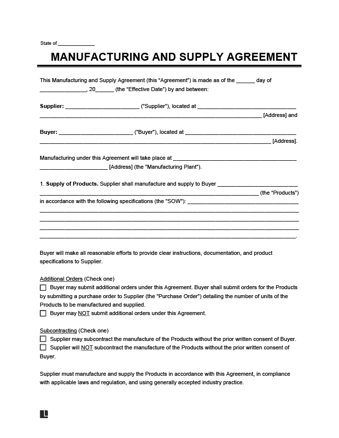 Manufacturing and Supply Agreement