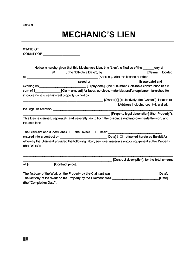 mechanics lien template