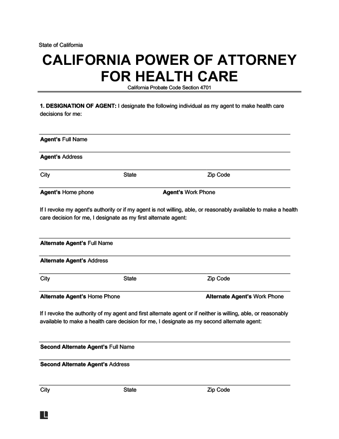 California medical power of attorney form