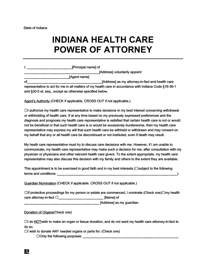 indiana medical power of attorney form