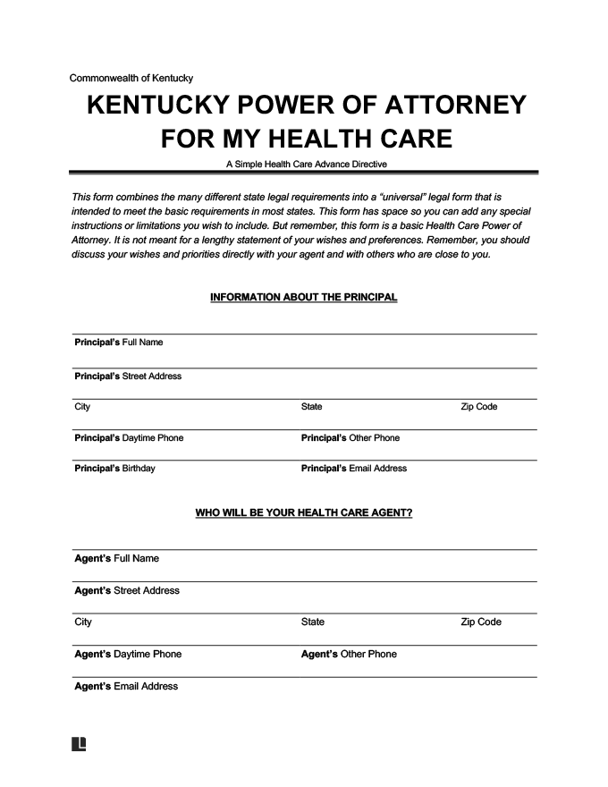 Kentucky medical power of attorney form
