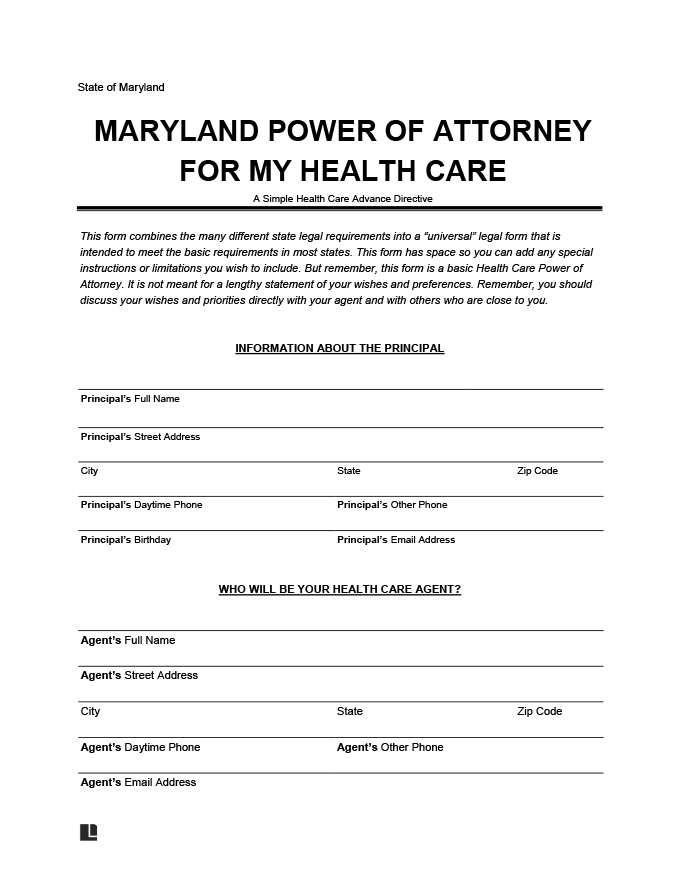 Maryland Power of Attorney for my Health Care