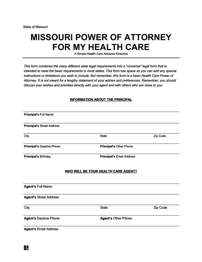 Missouri medical power of attorney form