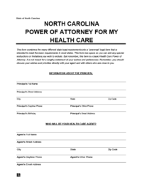 medical power of attorney NC