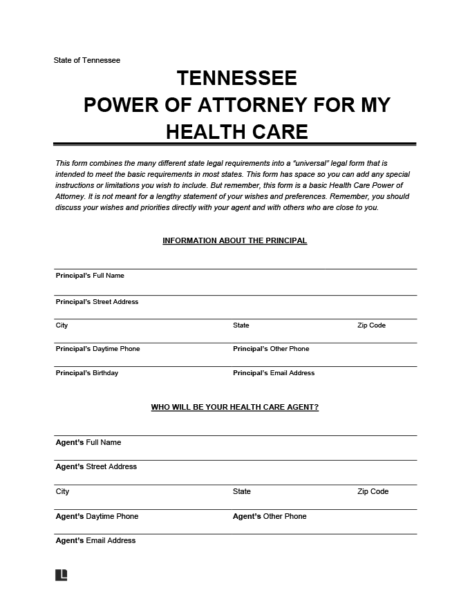 Tennessee Durable Power of Attorney for Health Care