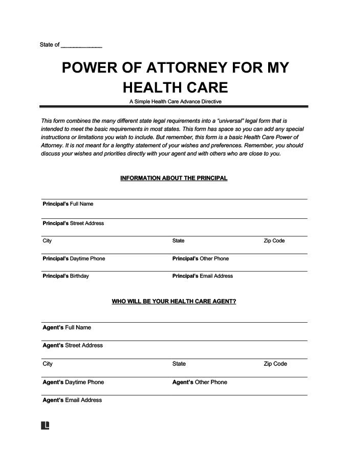 Free Medical Power Of Attorney Form Blank Printable Legal Templates