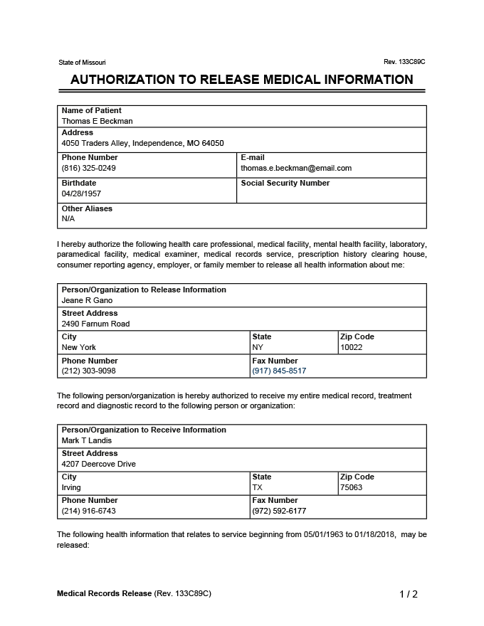 medical records release sample