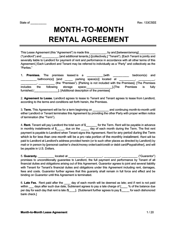 month-to-month lease agreement