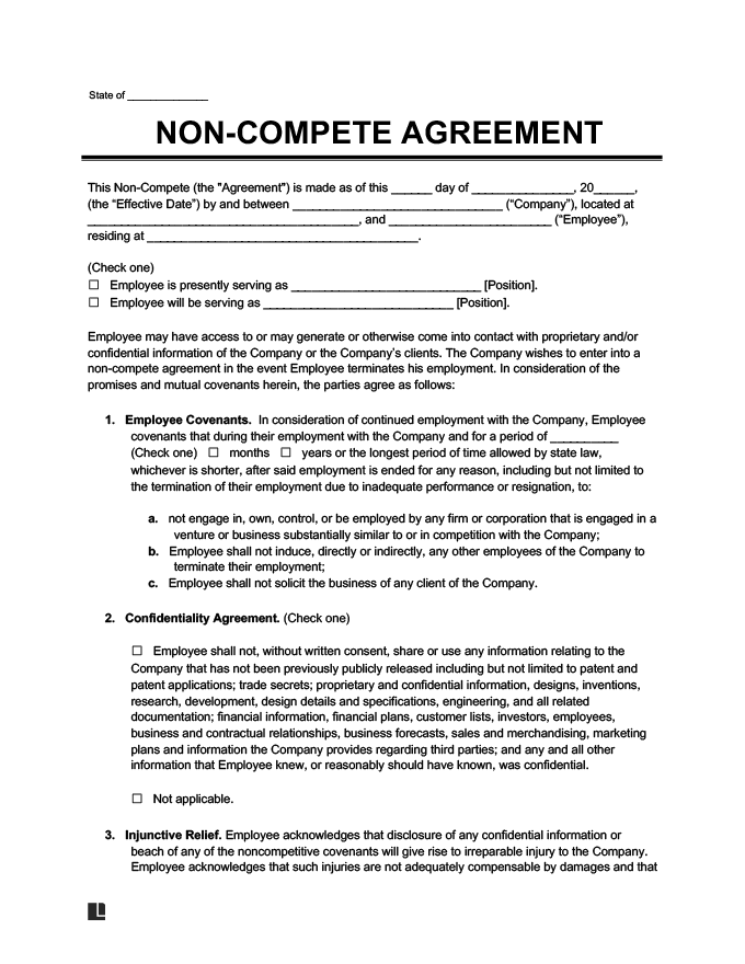 Non Compete Agreement Template Free Sample Pdf Legal Templates