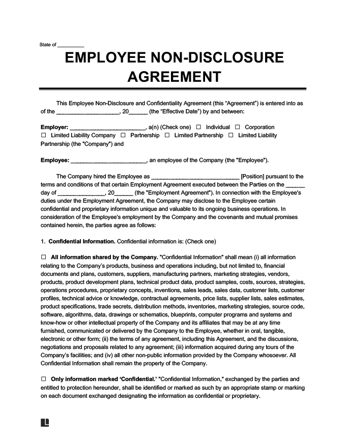 employee non-disclosure agreement