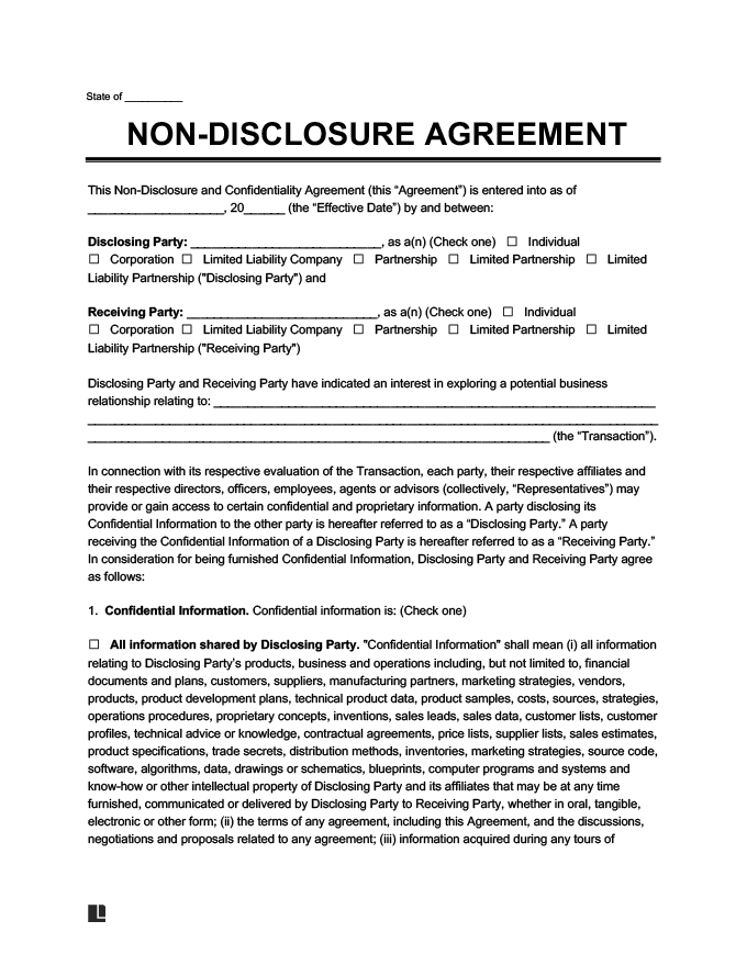 Non Disclosure Agreement Nda Free Nda Form Word Pdf