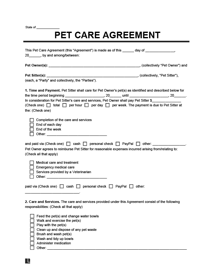 Pet Care Agreement Template