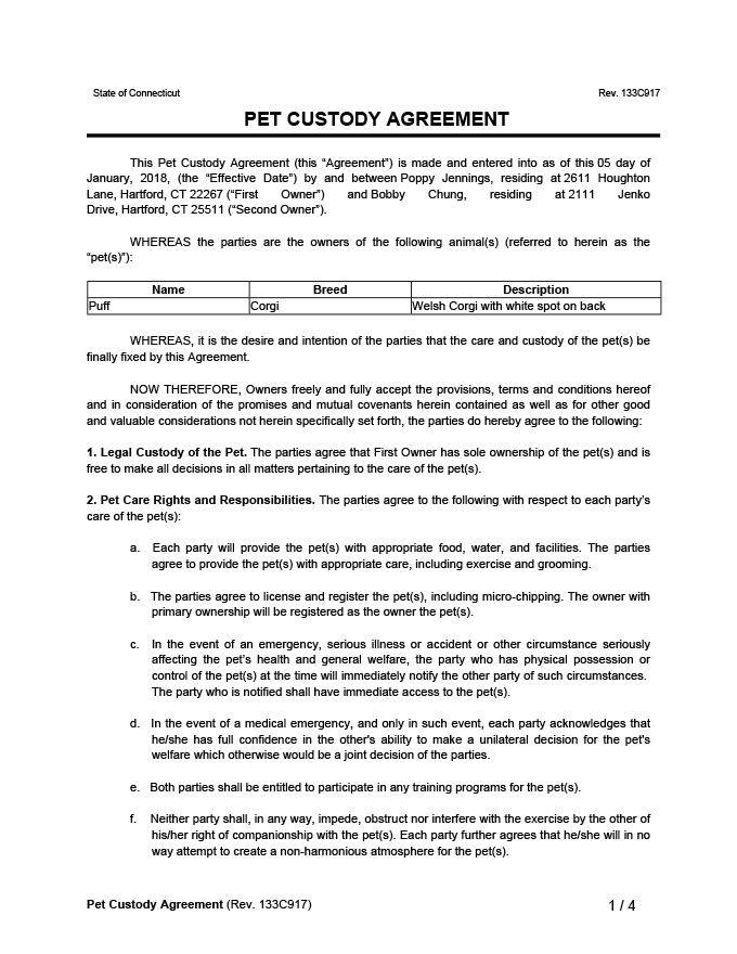 Pet Custody Agreement Sample