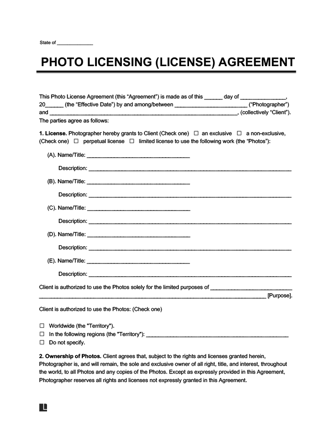 Photo Licensing Agreement Form Create A Photo License