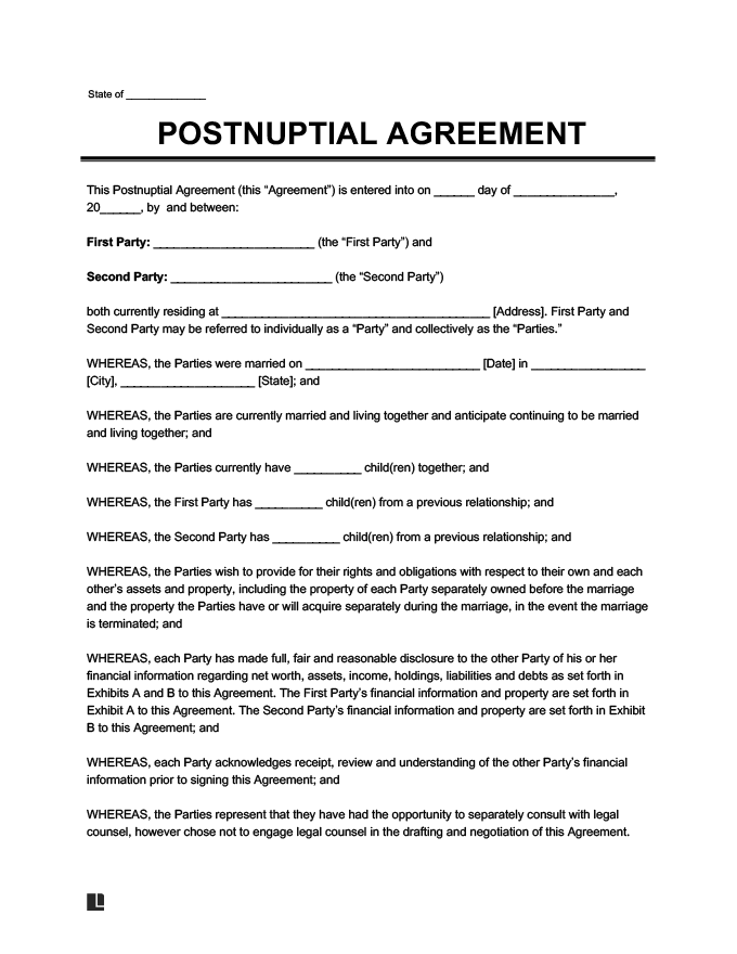 postnuptial agreement sample