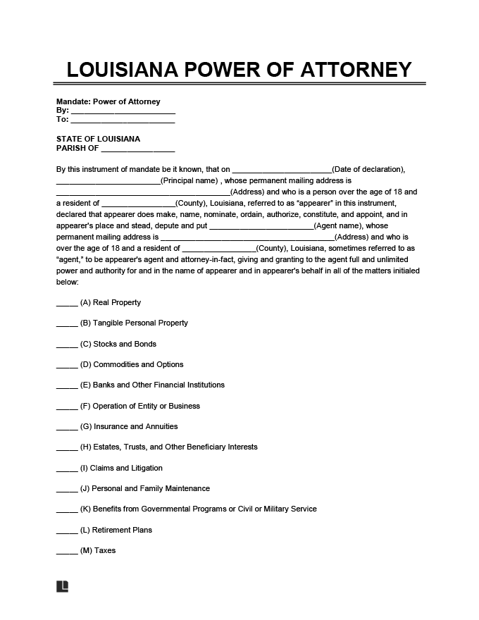 Louisiana power of attorney form