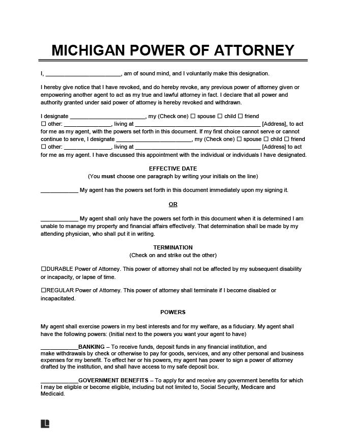 michigan power of attorney form