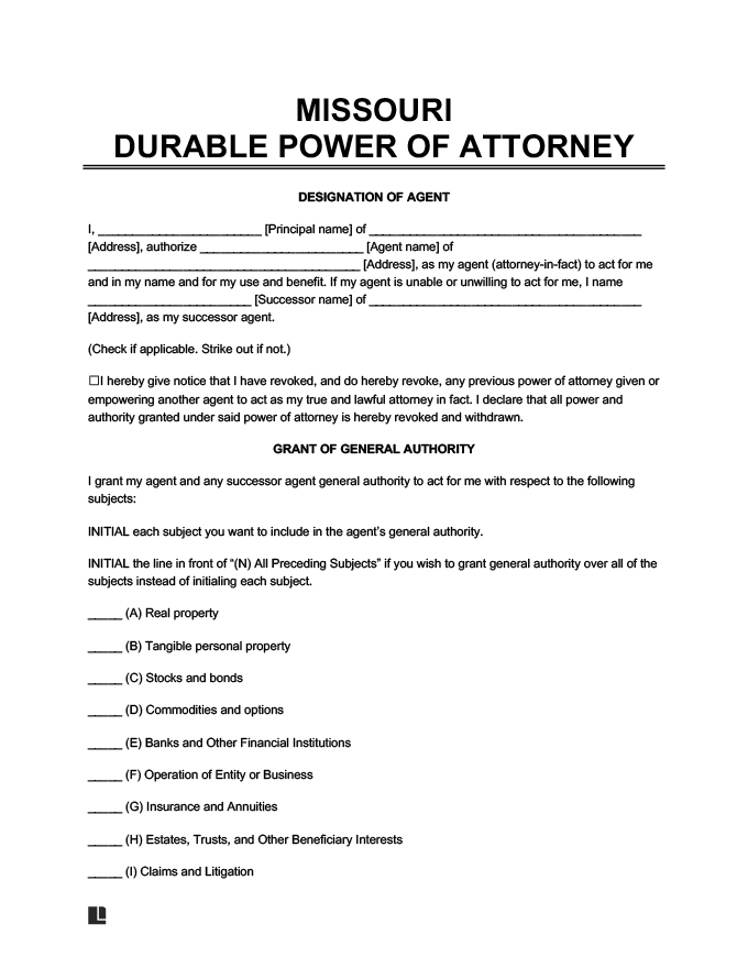 sample image of a missouri durable power of attorney form