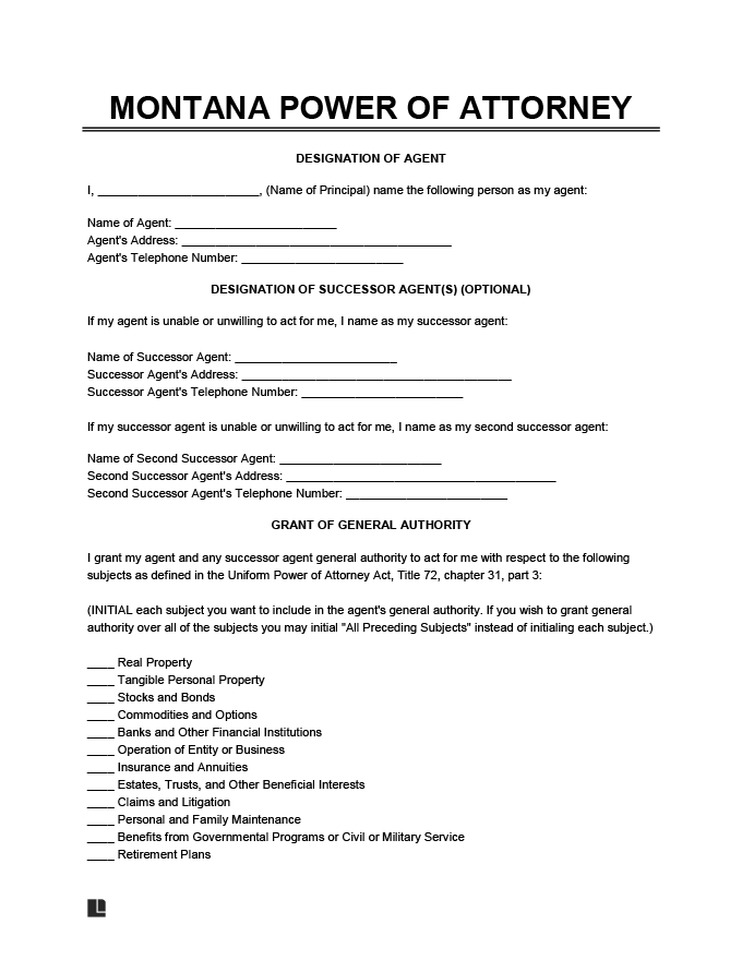 montana general power of attorney form