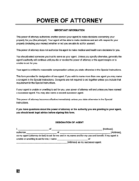 General/financial power of attorney form