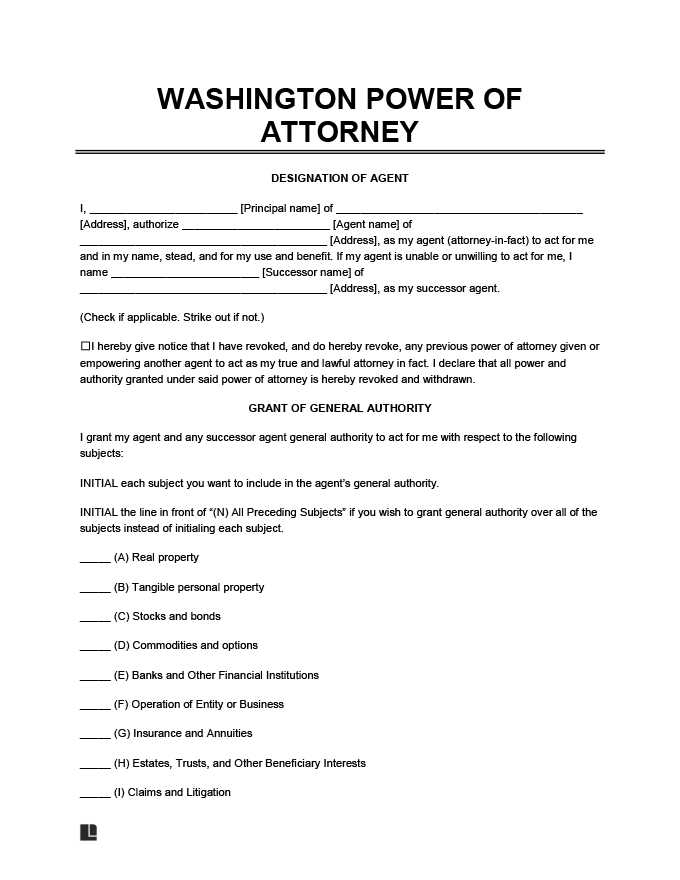 A Power of Attorney form valid in Washington State