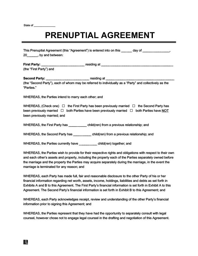 Prenuptial Agreement Sample