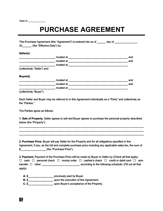 Purchase Agreement Form Create a Free Purchase Agreement – Property Agreement Template