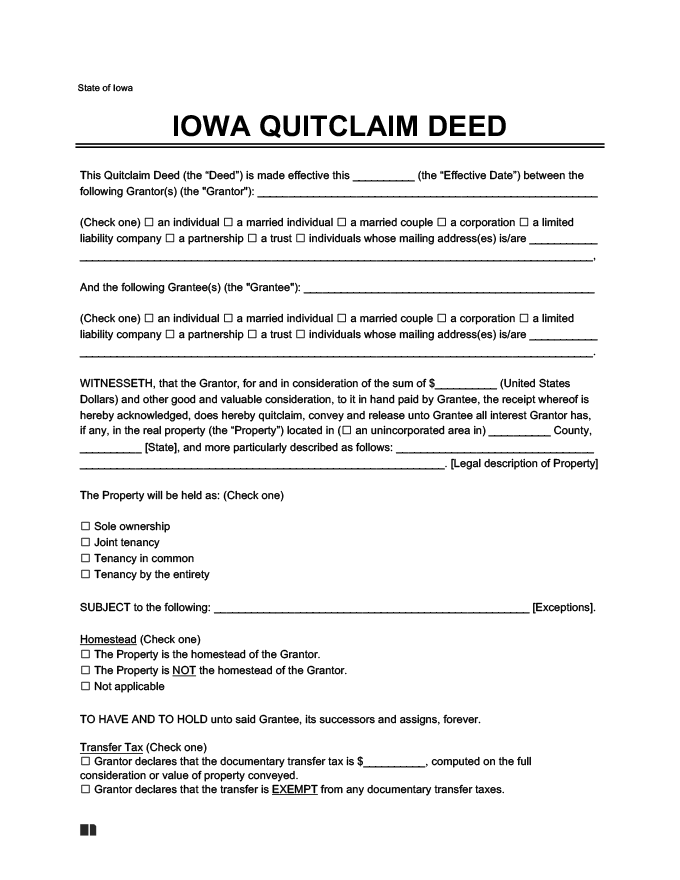 iowa quitclaim deed
