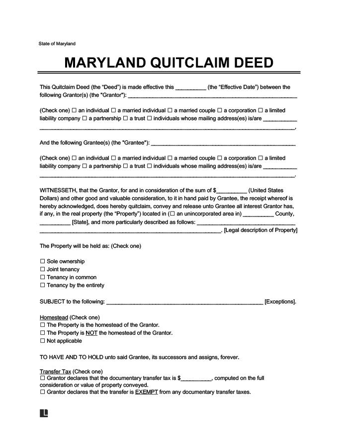 maryland quitclaim deed